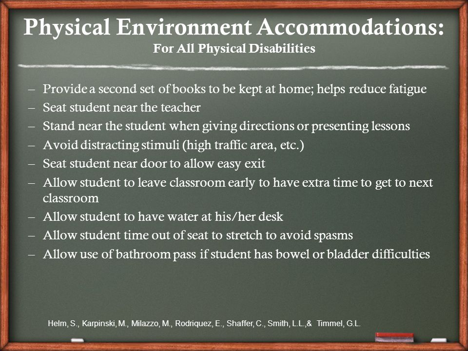 accommodating students with physical disabilities