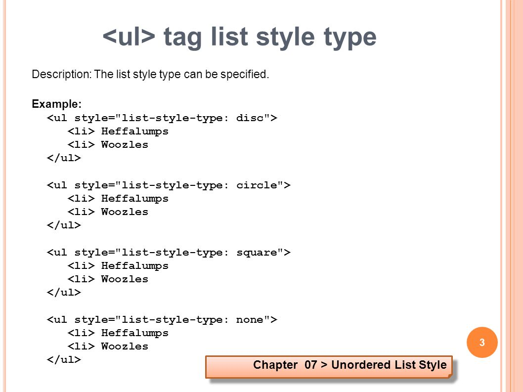 Html example code for unordered list.
