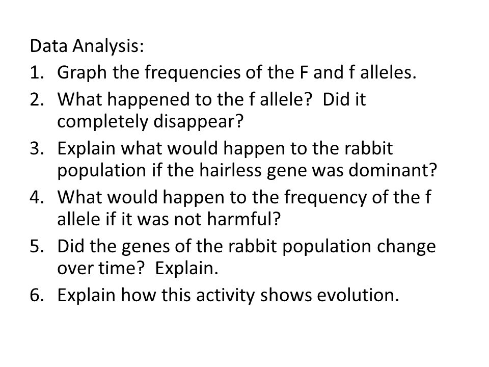 Data Analysis: Graph the frequencies of the F and f alleles. What happened to the f allele Did it completely disappear