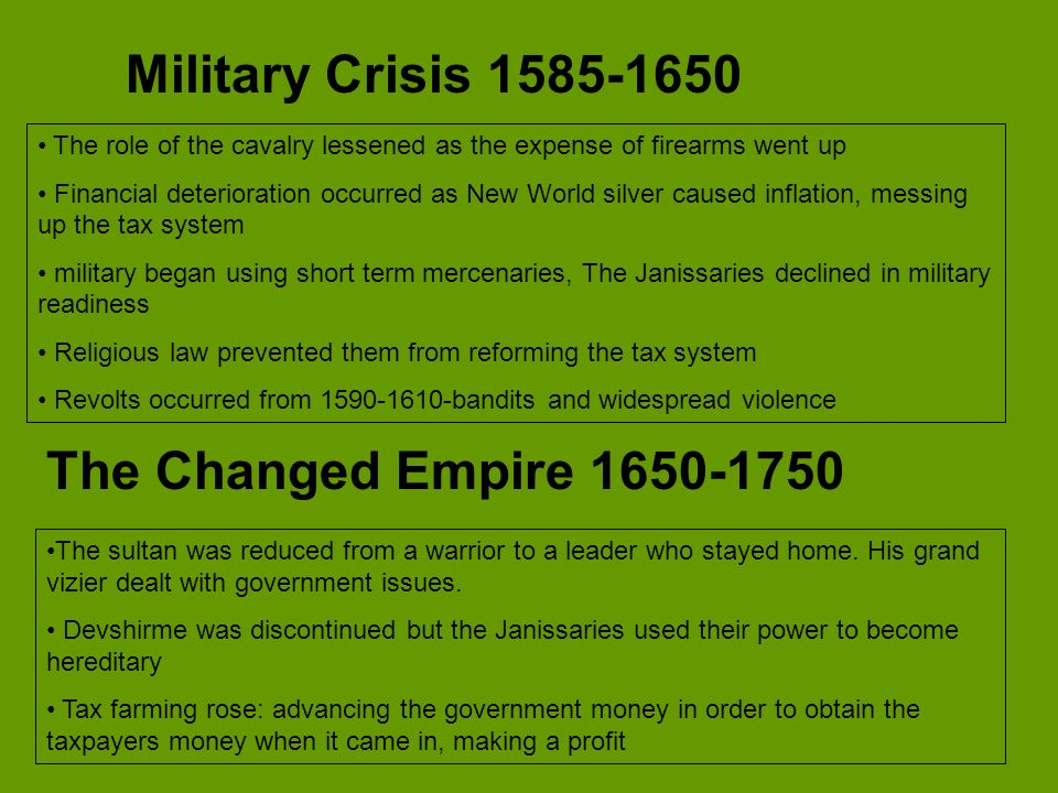 Military Crisis 1585-1650 The Changed Empire 1650-1750