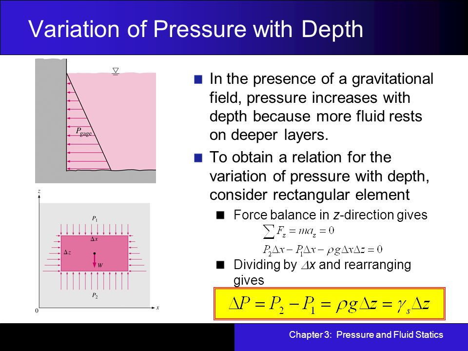 Chapter 3: Pressure and Fluid Statics - ppt download