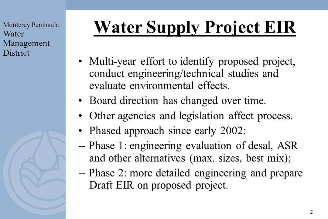 Summary Of Mpwmd Local Desalination Project Proposal Ppt Video