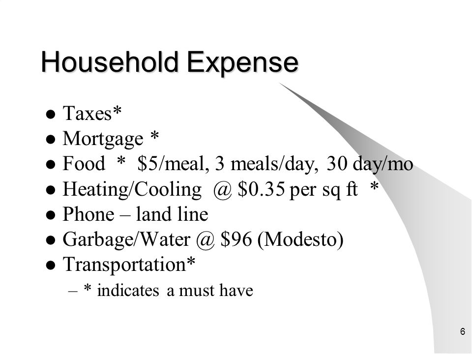 Household Expense Taxes* Mortgage *