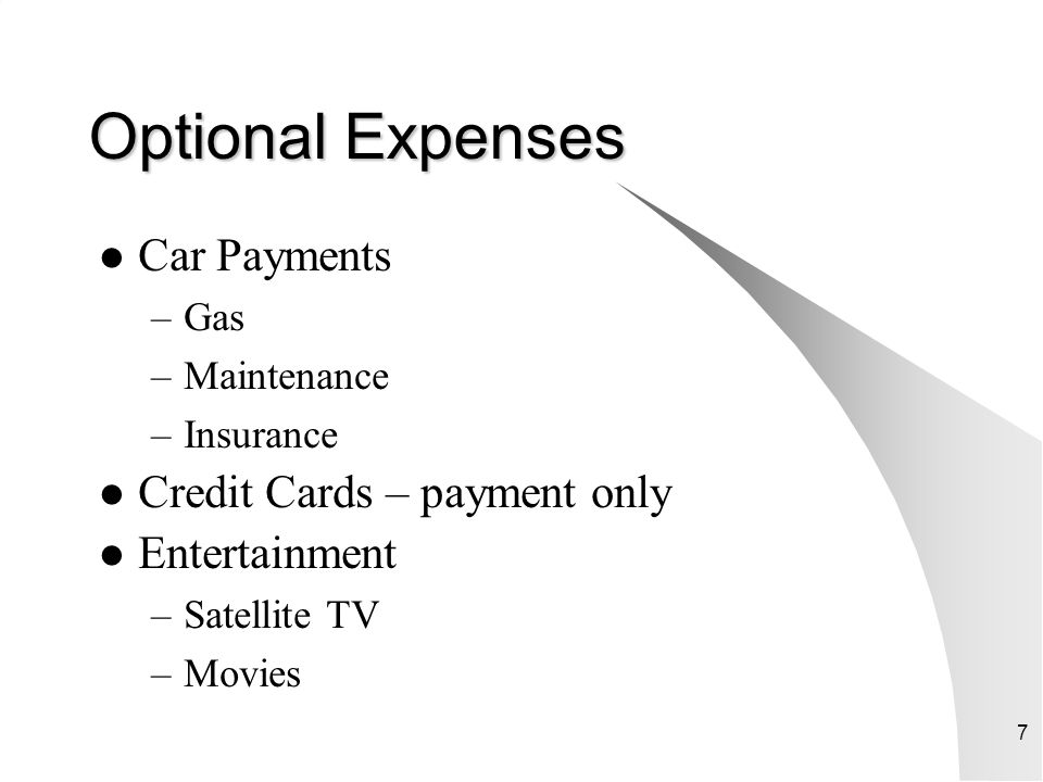 Optional Expenses Car Payments Credit Cards – payment only