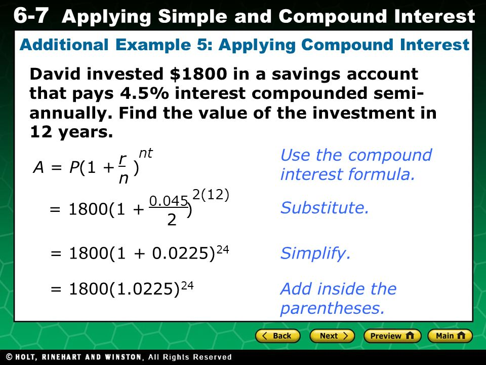 Additional Example 5: Applying Compound Interest