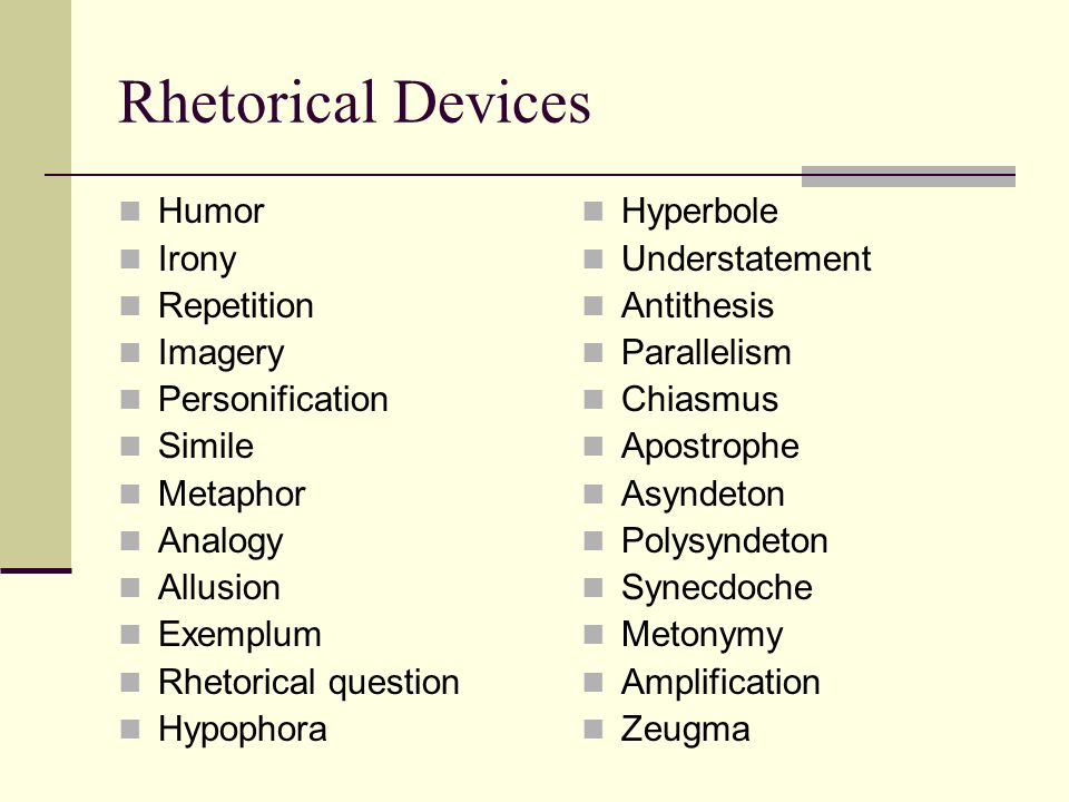 forms of rhetorical devices
