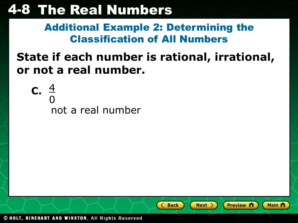 Additional Example 2: Determining the Classification of All Numbers