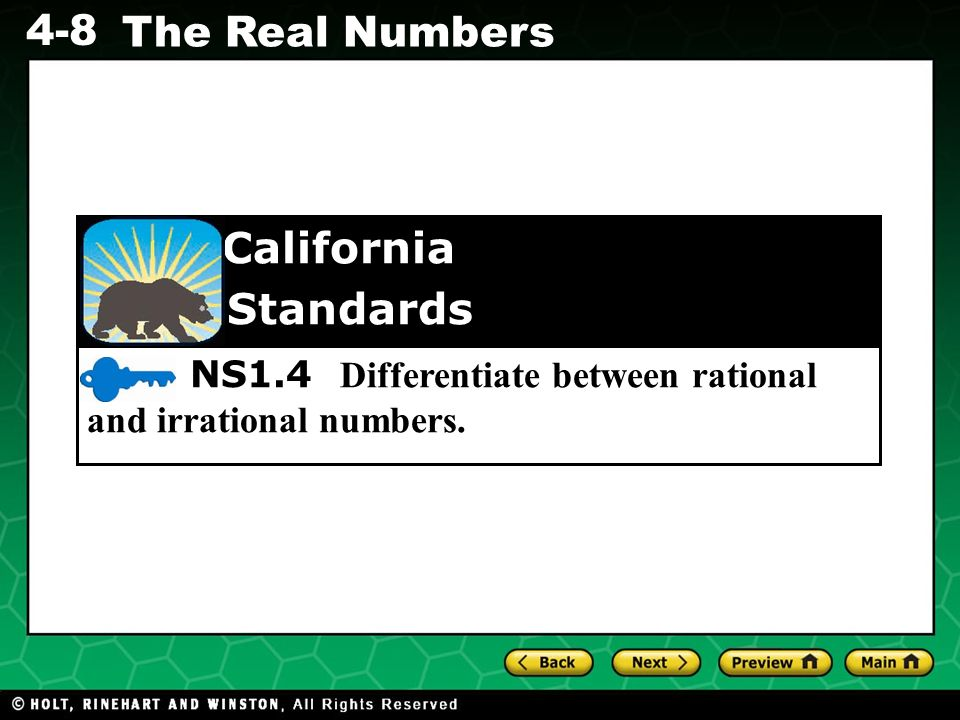 NS1.4 Differentiate between rational and irrational numbers.