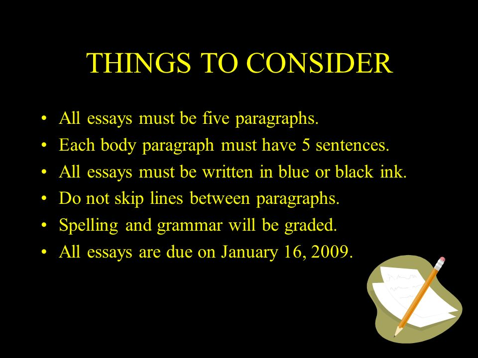 THINGS TO CONSIDER All essays must be five paragraphs.