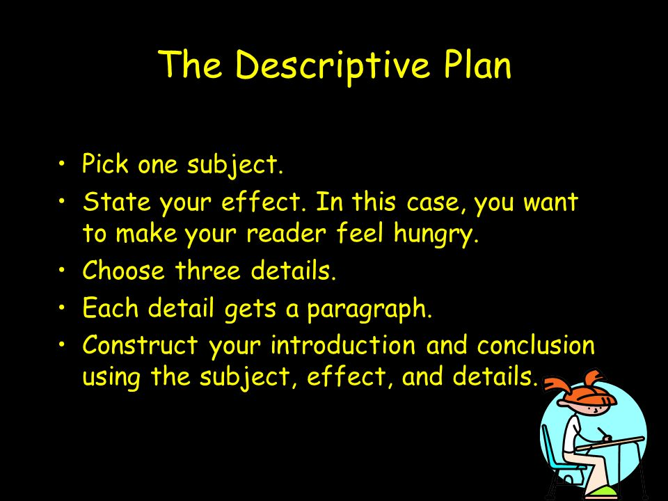 The Descriptive Plan Pick one subject.