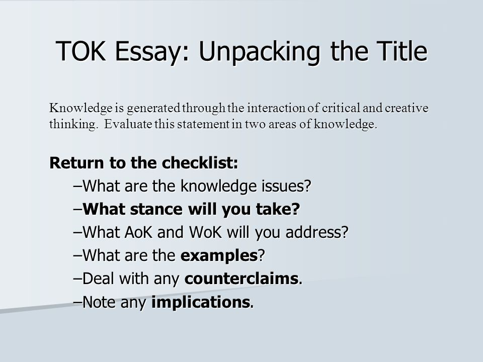 High School Essays Topics  Tok  Buy An Essay Paper also Online Homework Assignment Help Tok Essay Unpacking The Title  Ppt Video Online Download Narrative Essay Sample Papers