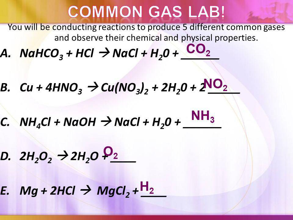 Common Gas Lab! A. NaHCO3 + HCl  NaCl + H20 + ______ CO2