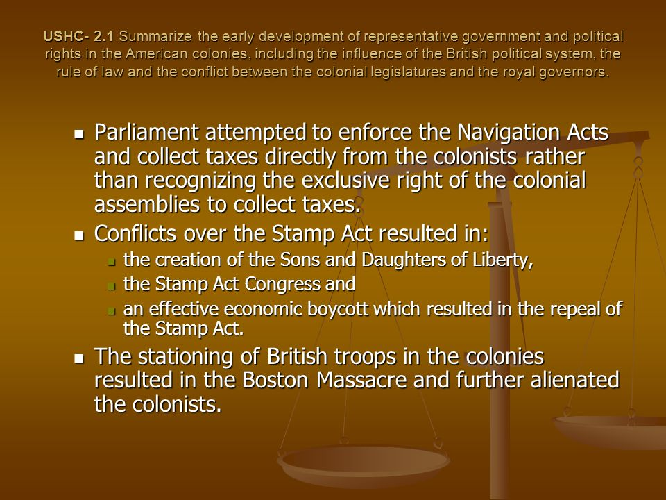 Conflicts over the Stamp Act resulted in: