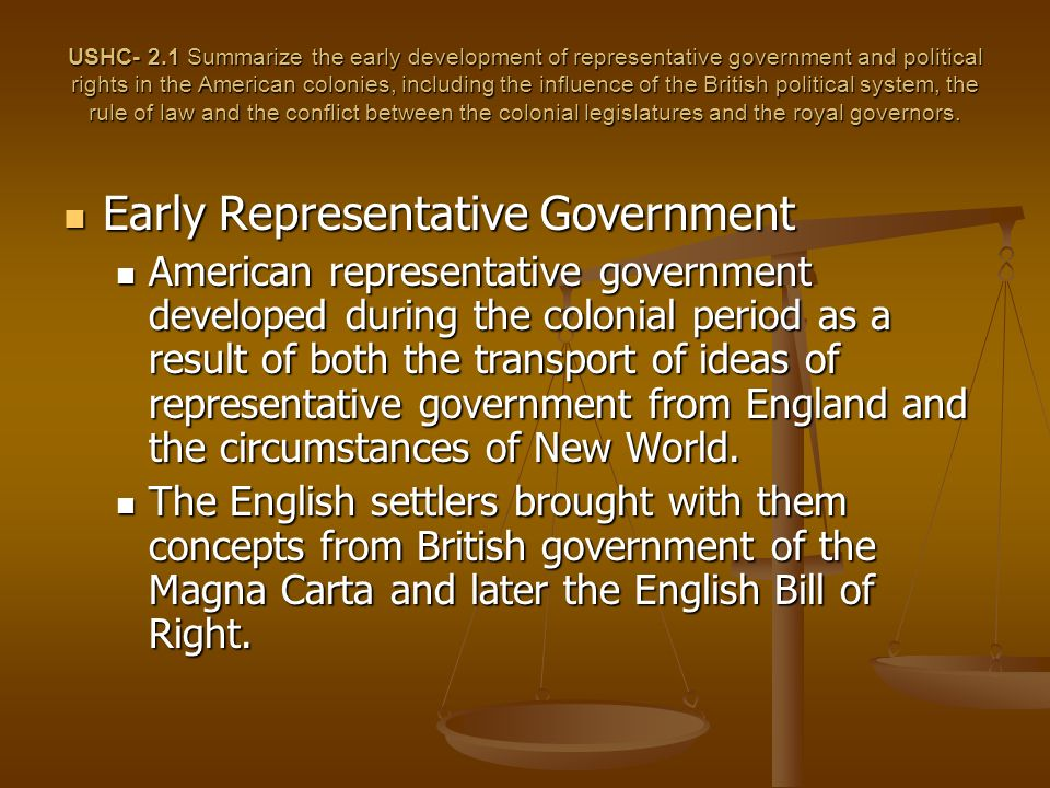Early Representative Government