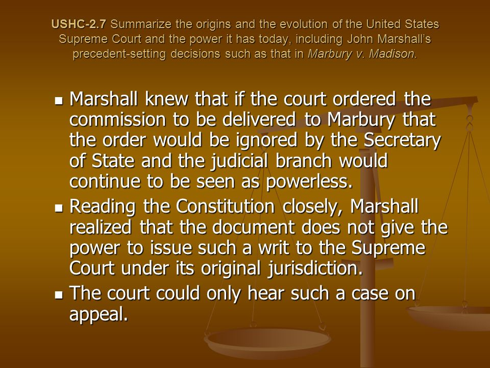 The court could only hear such a case on appeal.