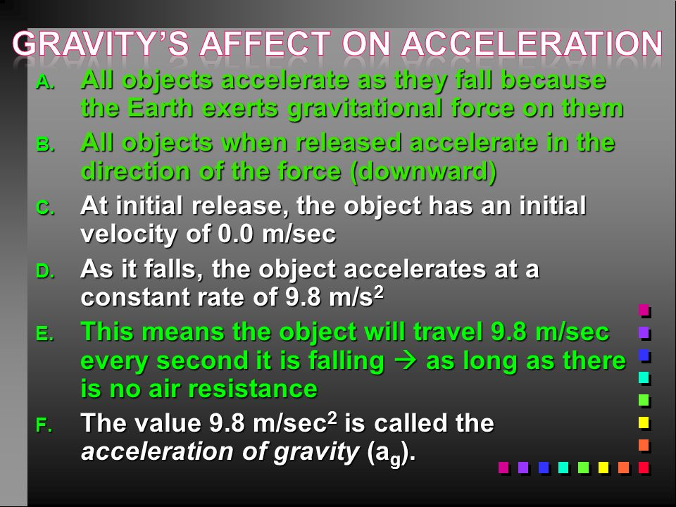 Gravity's affect on acceleration