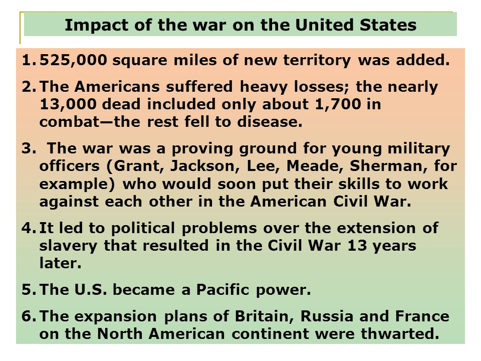 Impact of the war on the United States
