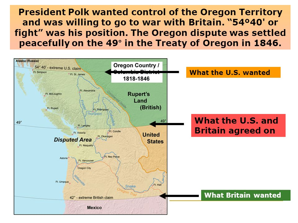 President Polk wanted control of the Oregon Territory and was willing to go to war with Britain. 54º40 or fight was his position. The Oregon dispute was settled peacefully on the 49° in the Treaty of Oregon in 1846.