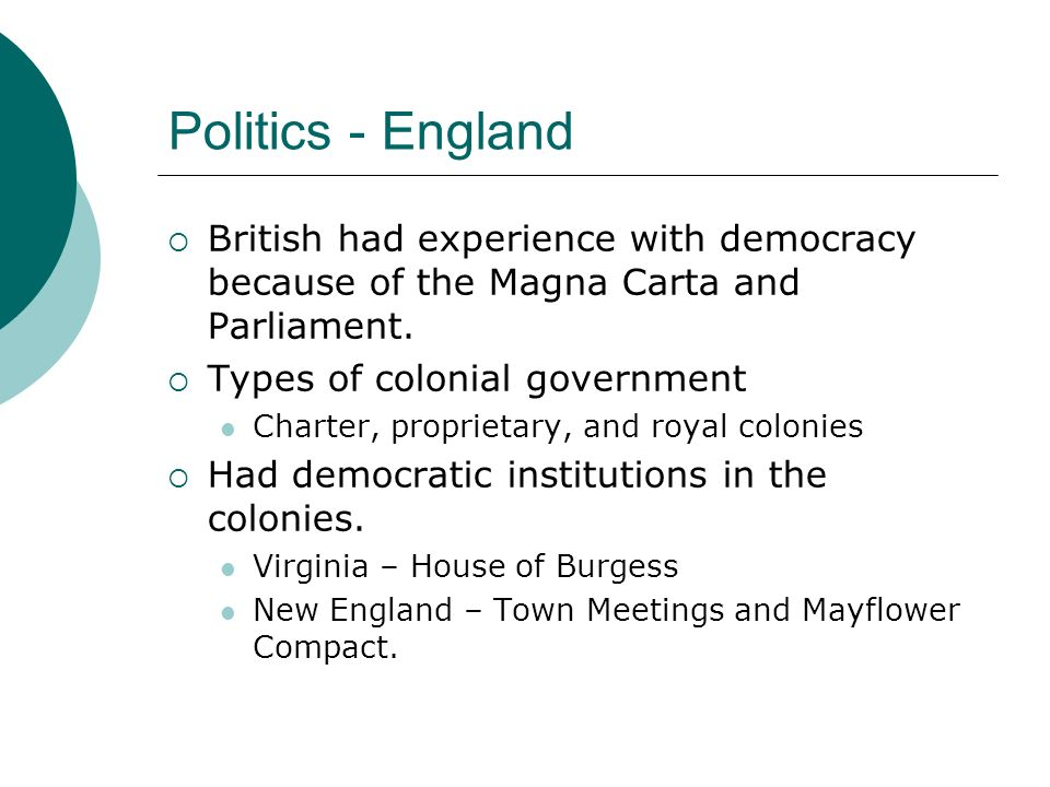 Politics - England British had experience with democracy because of the Magna Carta and Parliament.