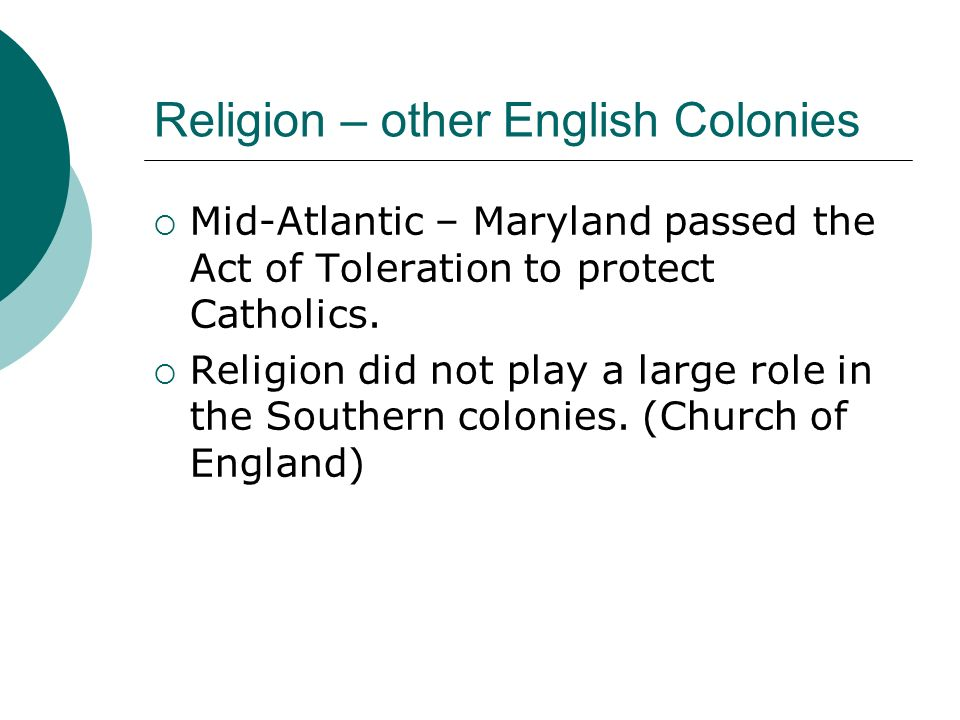Religion – other English Colonies