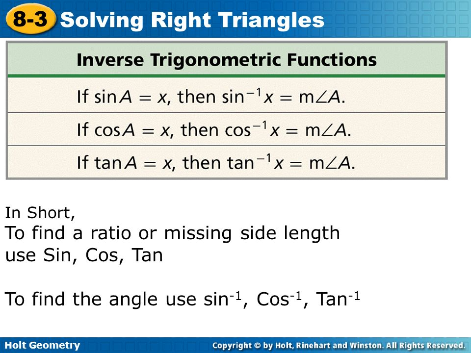 Solving Right Triangles - ppt video online download