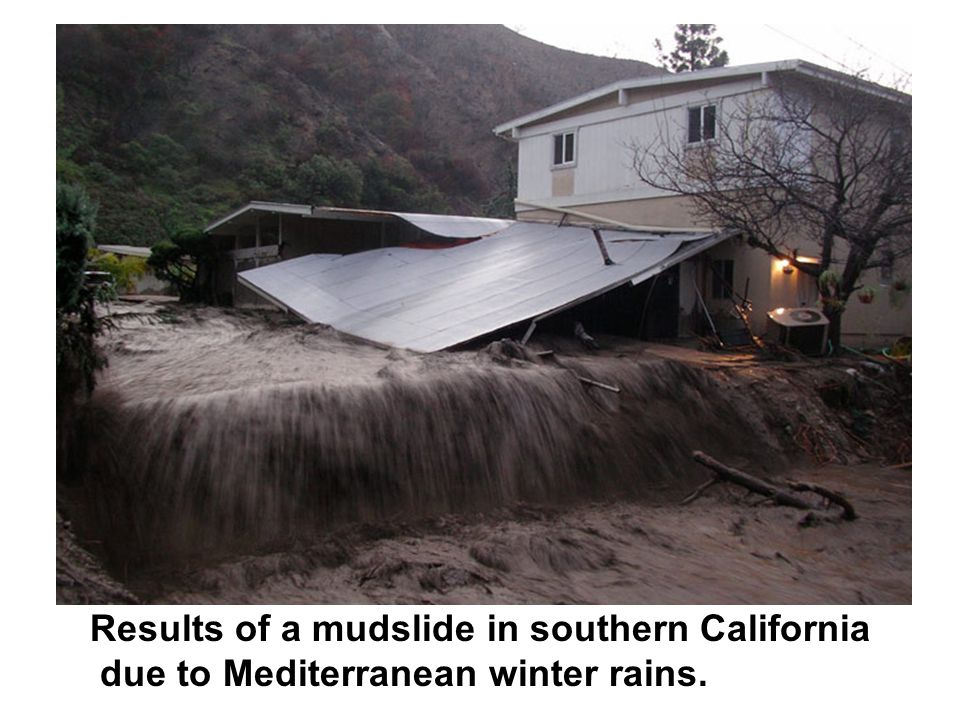 Results of a mudslide in southern California