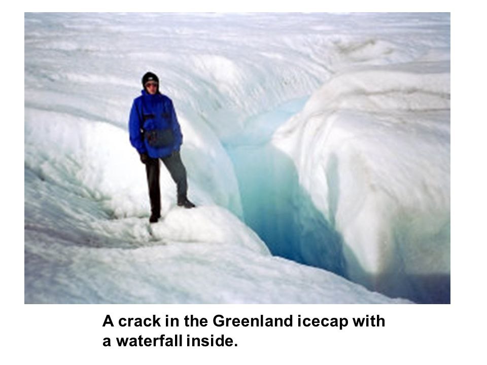 A crack in the Greenland icecap with