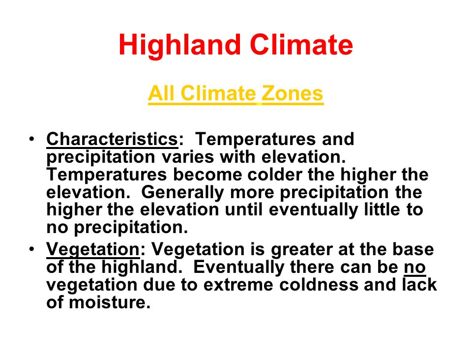 Highland Climate All Climate Zones