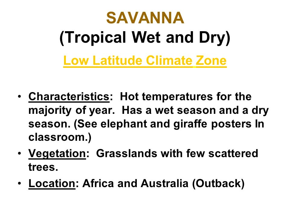 SAVANNA (Tropical Wet and Dry)