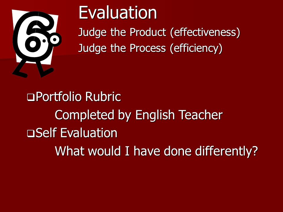 Evaluation Portfolio Rubric Completed by English Teacher