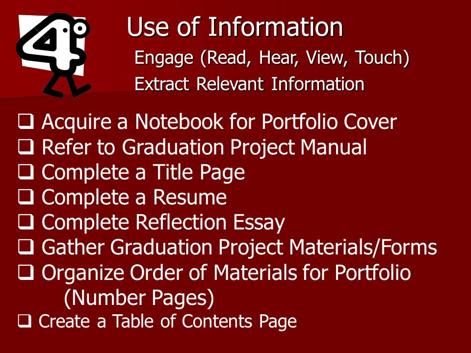 Use of Information Acquire a Notebook for Portfolio Cover