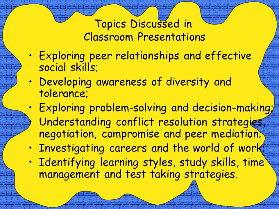 Topics Discussed in Classroom Presentations
