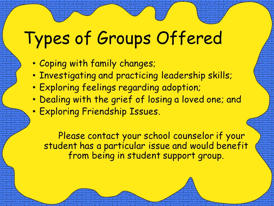 Types of Groups Offered