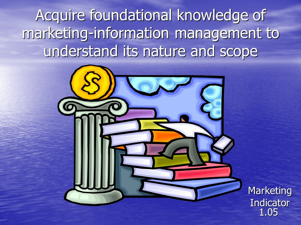 Acquire foundational knowledge of marketing-information management to understand its nature and scope