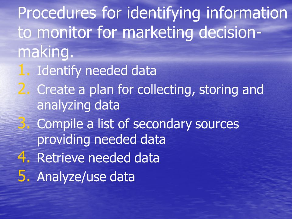 Procedures for identifying information to monitor for marketing decision-making.