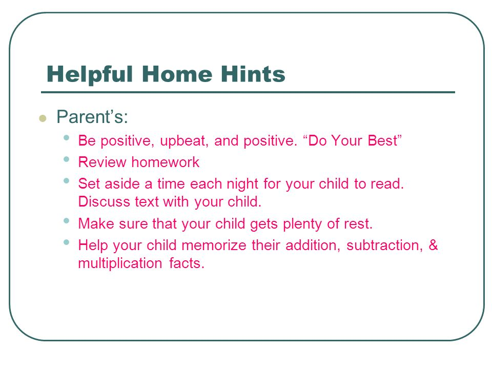 Helpful Home Hints Parent's:
