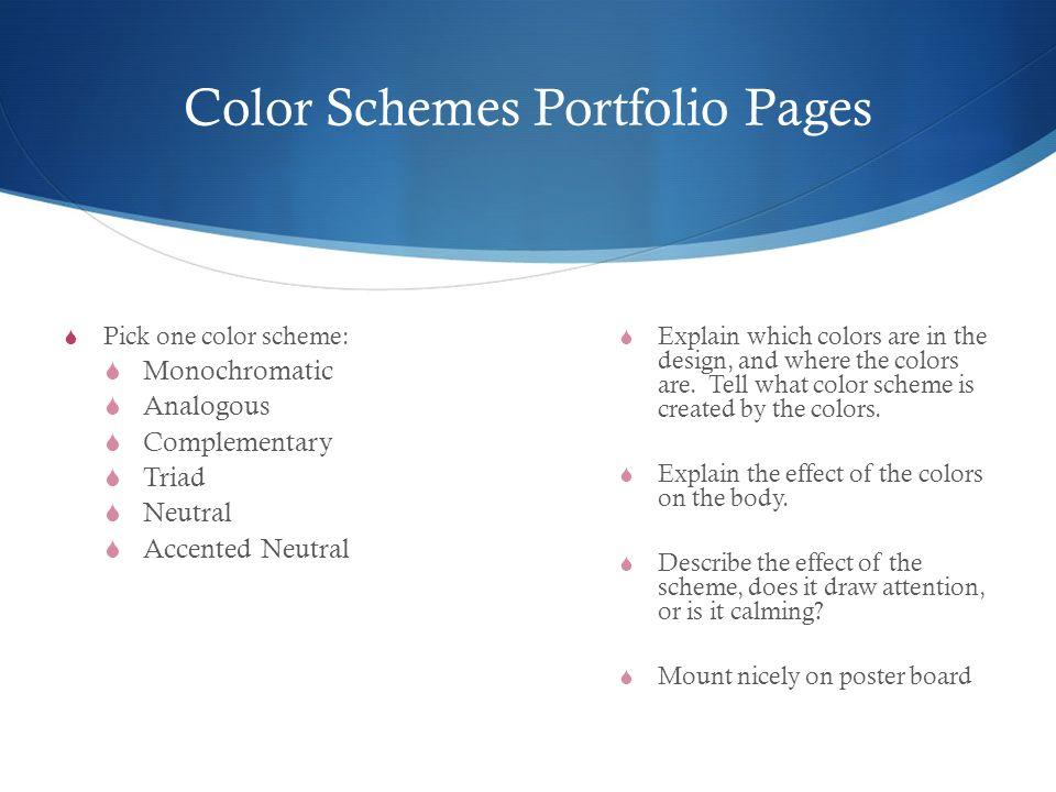Color Schemes Portfolio Pages