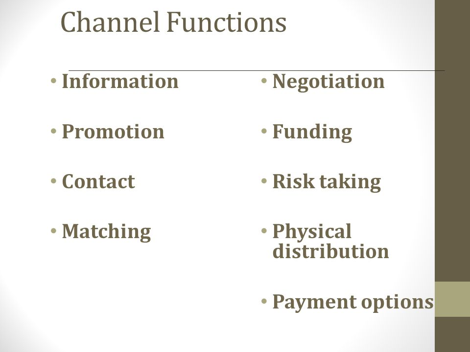 Channel Functions Information Negotiation Promotion Funding Contact