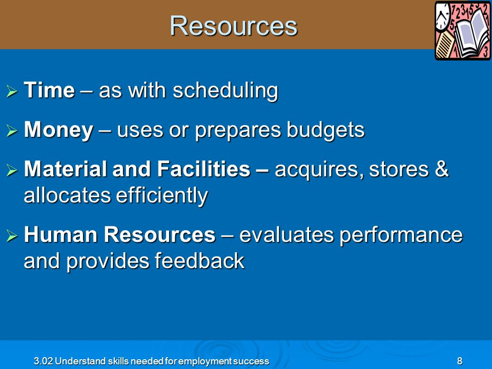 Resources Time – as with scheduling Money – uses or prepares budgets