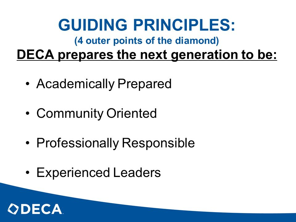 GUIDING PRINCIPLES: (4 outer points of the diamond) DECA prepares the next generation to be: