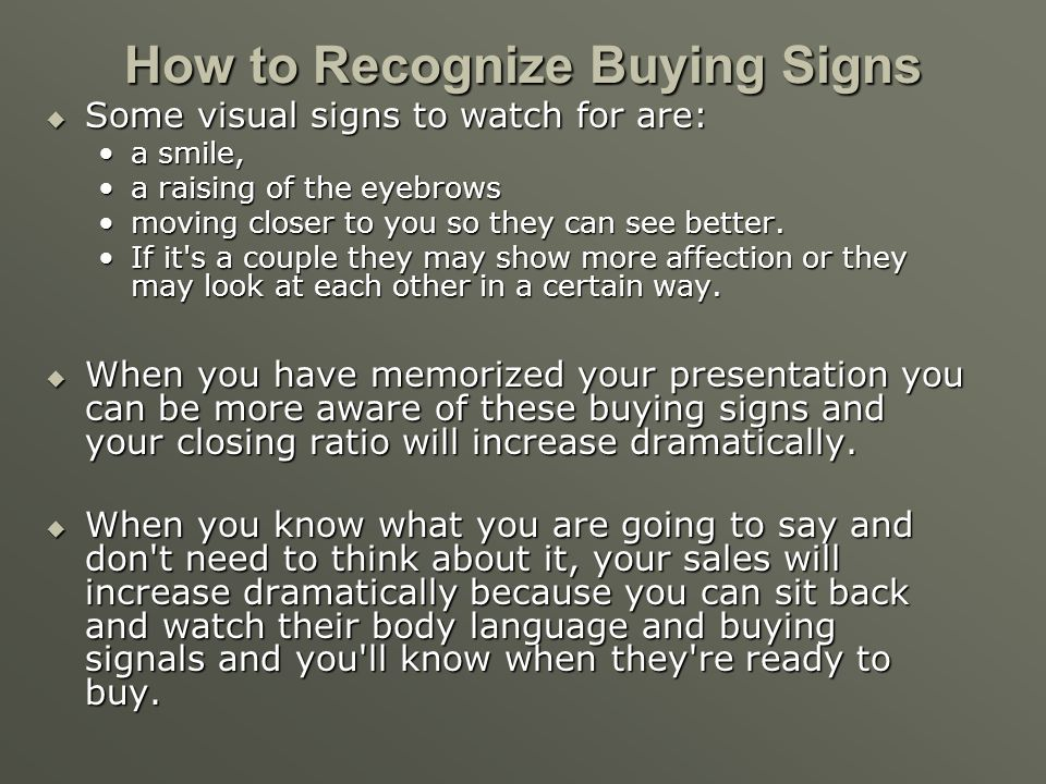 How to Recognize Buying Signs