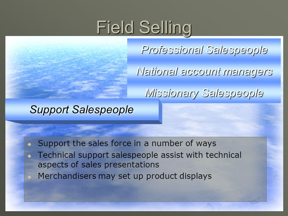 Field Selling Professional Salespeople National account managers