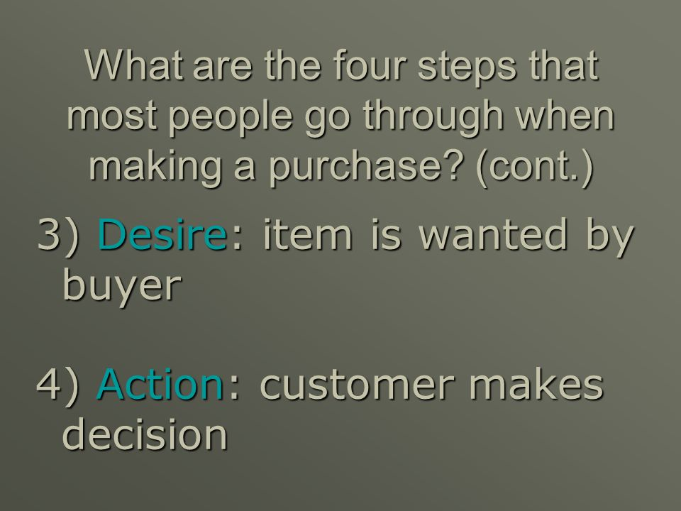 What are the four steps that most people go through when making a purchase (cont.)