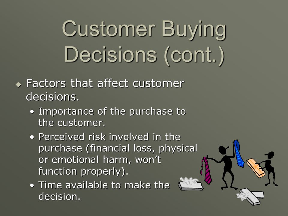 Customer Buying Decisions (cont.)