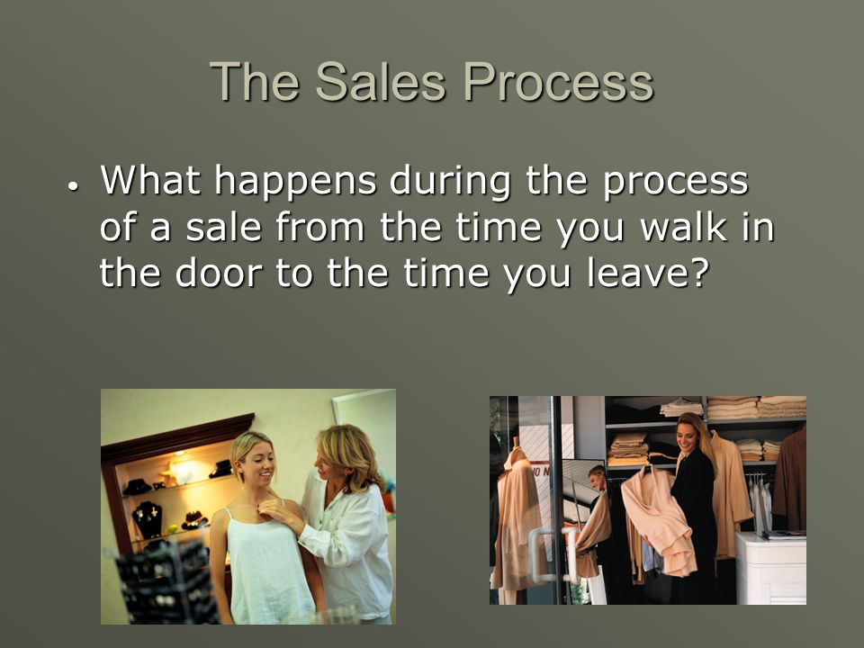 The Sales Process What happens during the process of a sale from the time you walk in the door to the time you leave