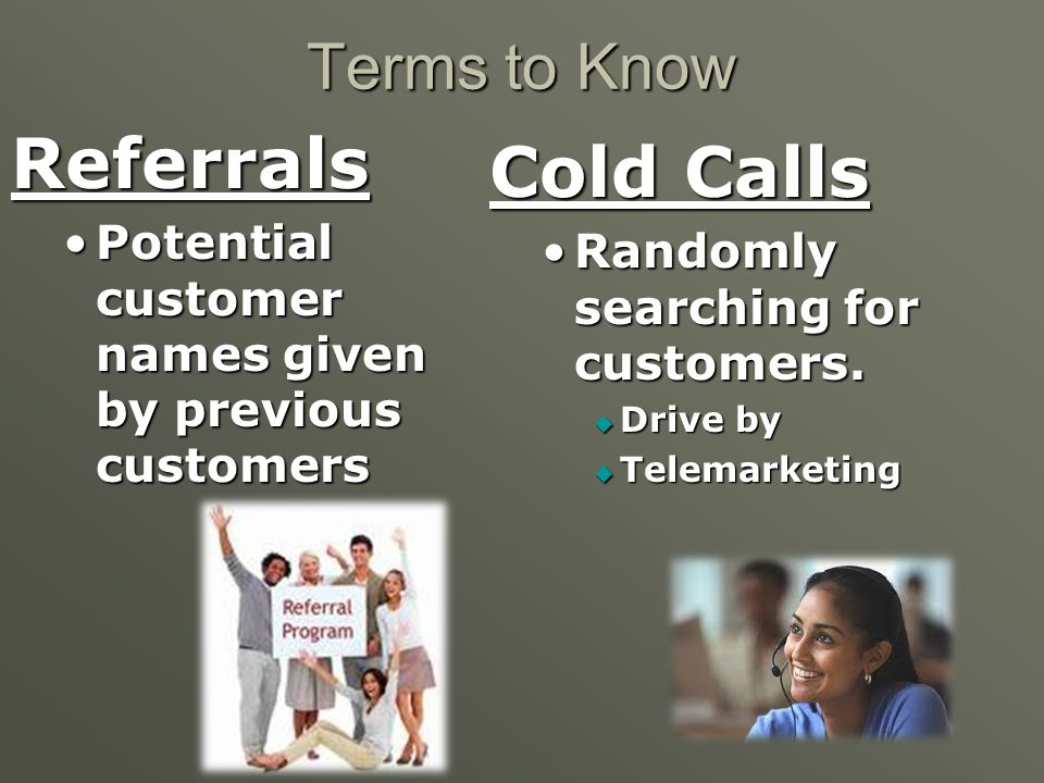 Referrals Cold Calls Terms to Know
