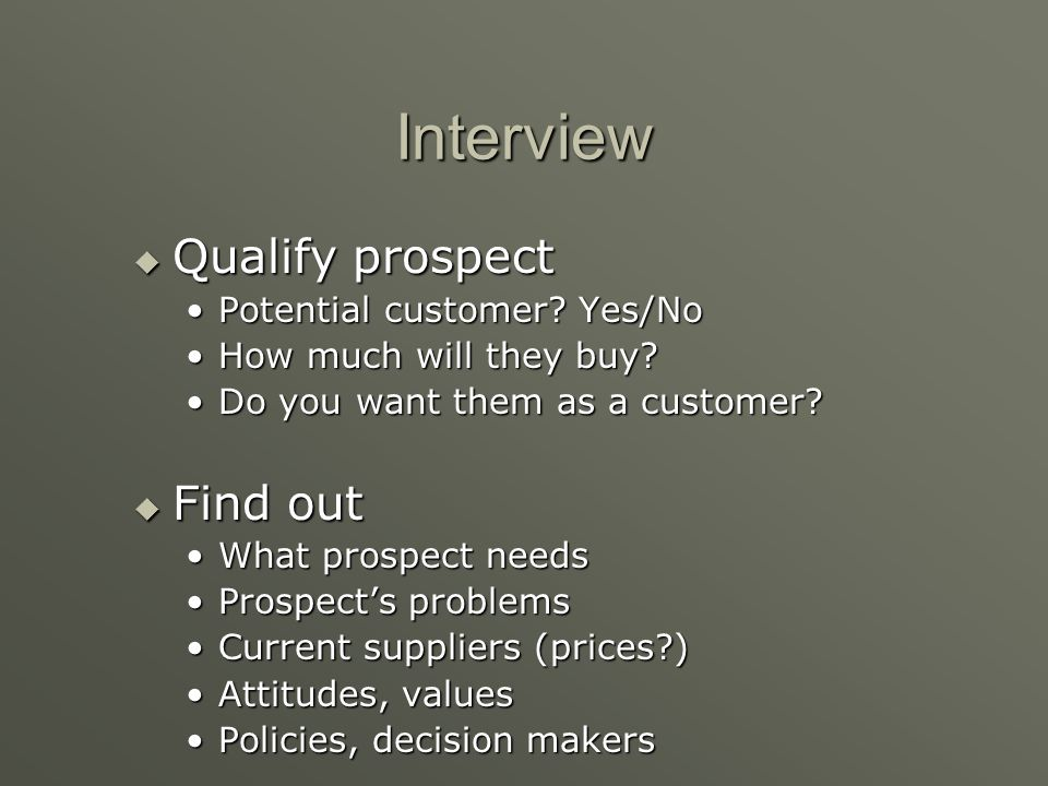 Interview Qualify prospect Find out Potential customer Yes/No