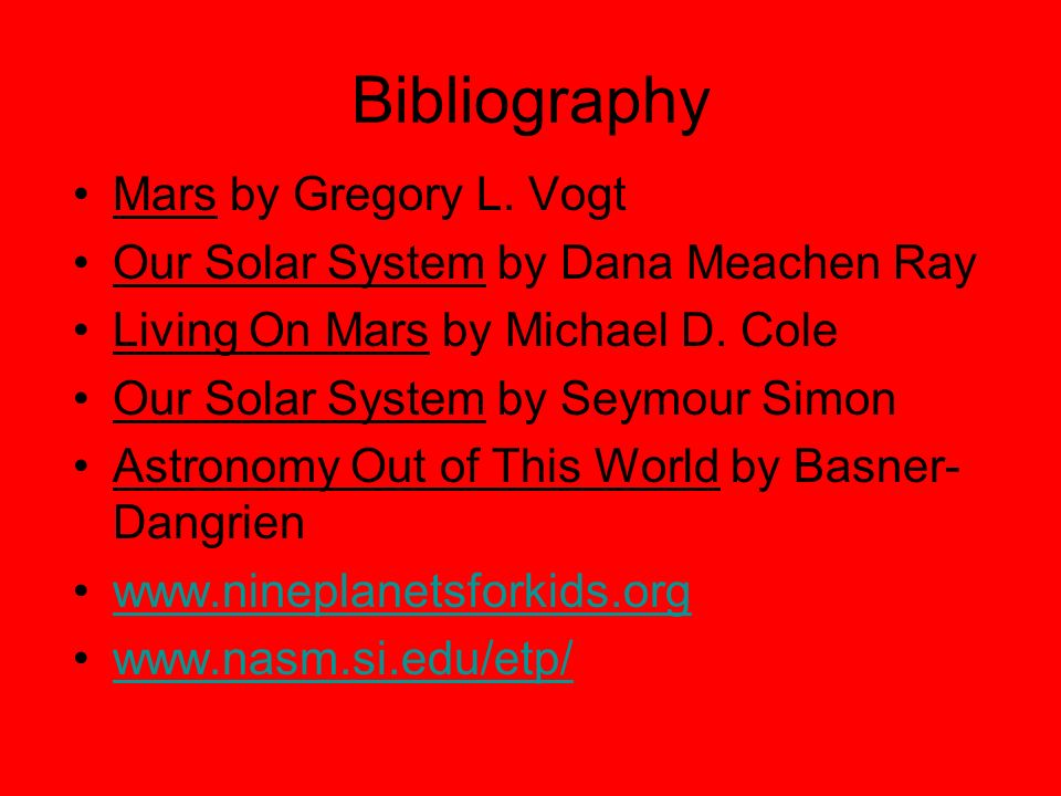 Bibliography Mars by Gregory L. Vogt