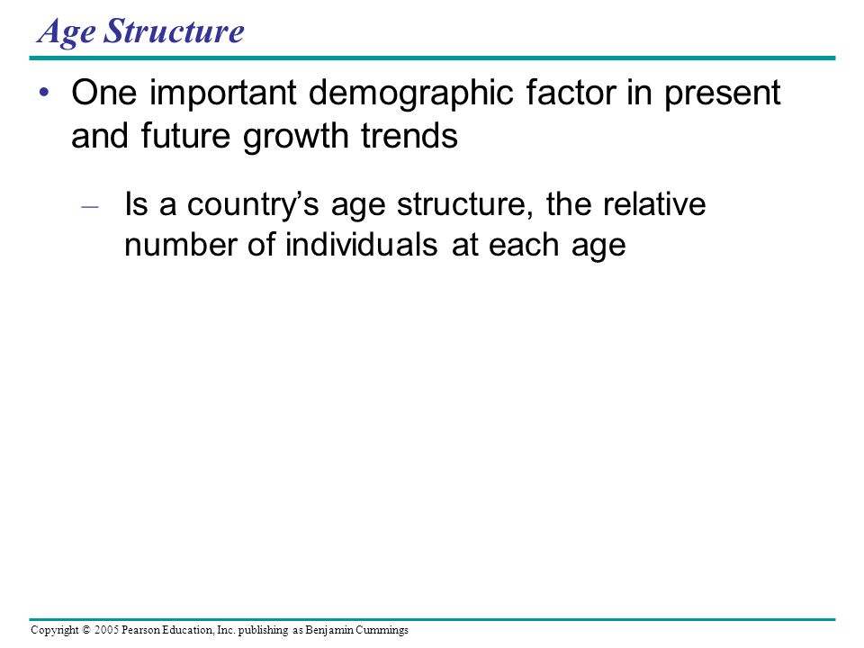 One important demographic factor in present and future growth trends