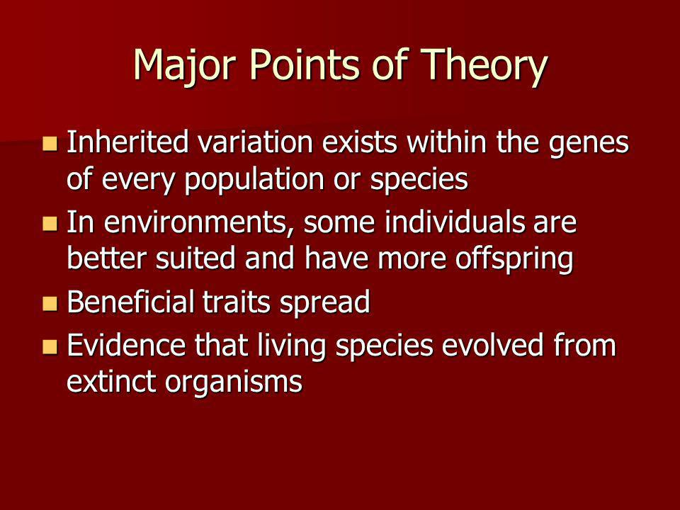 Major Points of Theory Inherited variation exists within the genes of every population or species.